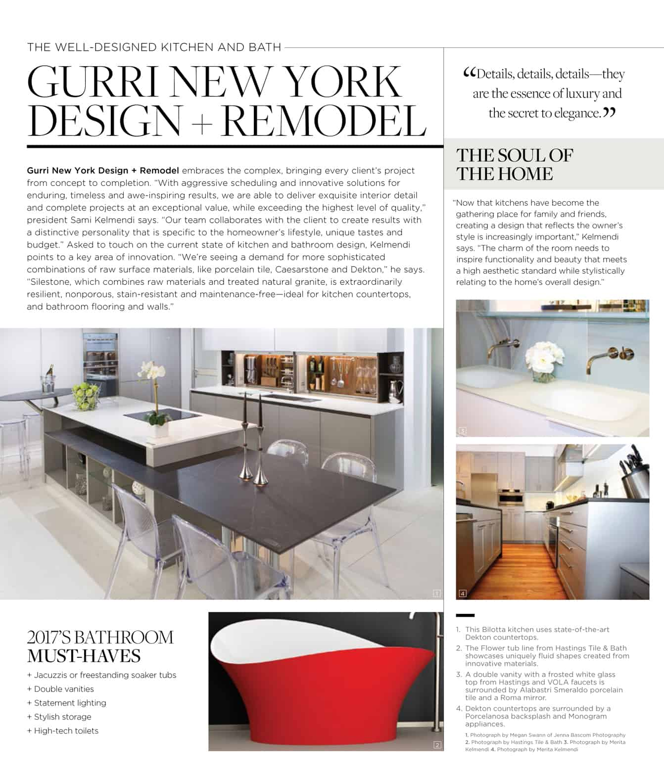 Gurriu0027s Own Sami Kelmendi Was Interviewed In The October Luxe Interiors +  Design Magazineu0027s The Well Designed Kitchen U0026 Bath Article.